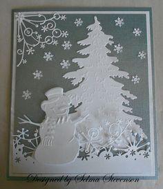 Gorgeous Snowman & Tree Card...Selma's Stamping Corner.