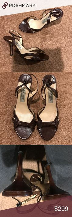 Jimmy choo chocolate brown strappy leather sandal Gorgeous and classy sandals in excellent used condition! Little to know where displayed when she was on except for somewhere to the soles and heels tips. Gorgeous butter soft chocolate brown goes with anything! Size 39 made in Italy Jimmy Choo Shoes Sandals
