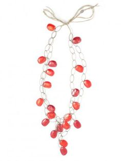 Maria Calderara jewelry necklace - red stones and chains necklace, 142 cm long. Hand made in Italy in Venice. Maria Calderara Spring Summer 2013 Collection.