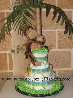 """Monkeying Around"" 3Tier Diaper Cake. Please stop in and visit us at www.sweetdreams_gifts.webs.com"
