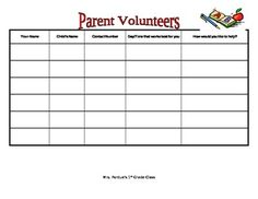 Back to School Freebie: Parent Volunteer Sign-Up Sheet | Back to ...