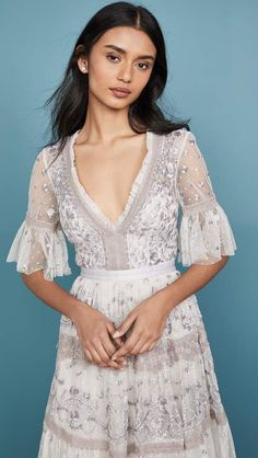 Needle & Thread Midsummer Lace Dress Lace Dress, White Dress, Casual Outfits, Fashion Outfits, Embellished Dress, Vintage Bohemian, India Fashion, Needle And Thread, Grosgrain