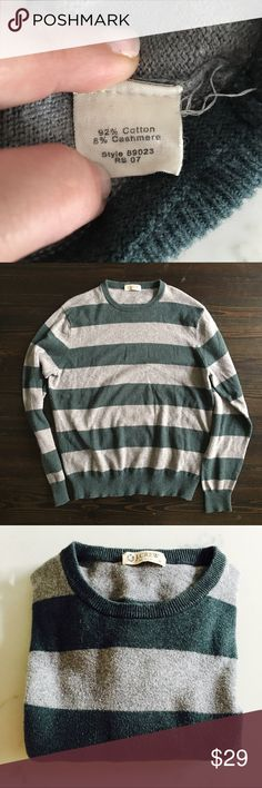 J. Crew Cotton Cashmere Blend Striped Sweater J. Crew Cotton Cashmere Blend Striped Pullover Crew neck Sweater.  Oversized, cozy and SOFT sweater.  Make me an offer 😉 J. Crew Sweaters Crew & Scoop Necks
