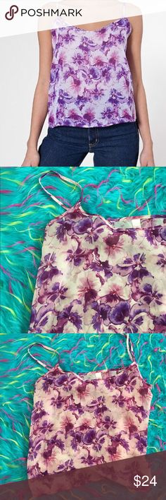 """•American Apparel Chiffon """"Pansy"""" Purple Tank• Lightweight Chiffon material. Semi sheer top. Sold out online!! 💕 like new condition. American Apparel Tops"""