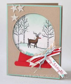 White Christmas Rudolph www.stampingwithlinda.com Check out my Stamp of the Month Kit Program Linda Bauwin – CARD-iologist  Helping you create cards from the heart.