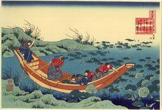 Barque au milieu des lotus d'#Hokusai #Japon