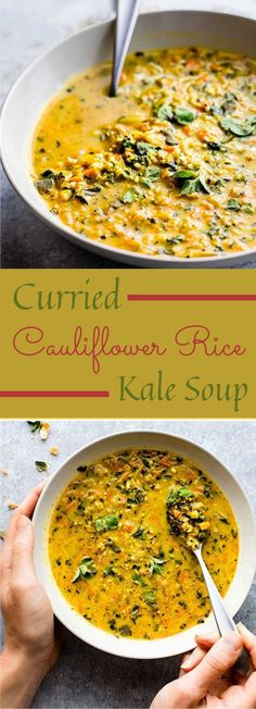 Kale soup with curried cauliflower rice is one tasty solid soup formula to keep you warm this season. A simple veggie lover, … Curried Cauliflower Rice Kale Soup - Curried Cauliflower Rice Kale Soup Paleo Soup, Healthy Soup Recipes, Vegetarian Recipes, Vegetarian Curry, Recipes With Kale, Vegetarian Paleo, Keto Recipes, Cauliflower Curry, Cauliflower Recipes