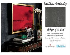 It's #WallpaperWednesday and the first day of Market Week at the Decoration and Design Building #DDBMarket. Explore with us as we venture into the the Ralph Lauren Century Club Textures Collection. The collection holds a range of Chic, Sophisticated and Mature designs appropriate for the more daring individual. Pearl Ray Shagreen - Onyx $104.25 per yard