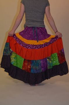 Vivid Prairie Patchwork Gypsy Skirt by Linarain on Etsy, $42.00