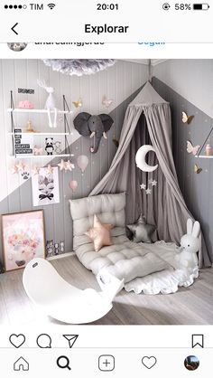 LOVE THE GREY, PINK & WHITE COLOUR COMBO, IT IS SO PRETTY & UNEXPECTED! - JUST A GORGEOUS ROOM, FOR A DARLING LITTLE GIRL!