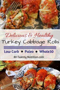 Low Carb Turkey Cabbage Rolls - gluten-free, ketogenic, paleo, grain-free, Whole30 friendly - recipe by Christy Brissette media registered dietitian nutritionist 80 Twenty Nutrition - http://www.80TwentyNutrition.com