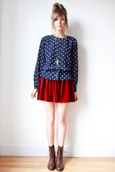 Image of blue dots blouse