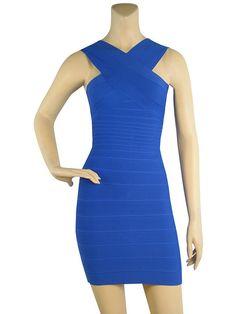 Herve Leger Sleeveless Stella Cross Front Sleeve Bandage Blue Dress