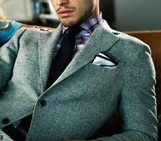 a great equation = plaid+knit+tweed+pocket squarea great equation