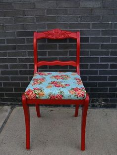 Vintage Red Painted Furniture: liking the red paint with the sweet, old-fashioned fabric and am ready to put my new Christmas present (electric staple gun) to use!!!