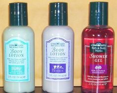 Vintage Bath & Body Works Mini Shower Gels in Juniper with Aloe, Freesia, and Sun-Ripened Raspberry, early 1990s