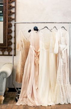 The Ladies of @BHLDN Weddings // wedding // dresses // clothing rack // photography by Rachel McGinn Photography