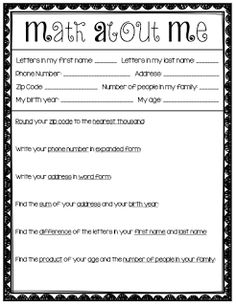 Math activities, and other items to help start the school year