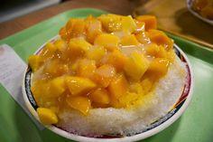 Helado de hielo rallado con mango y leche condensada. Típico de Taiwán.   Me llamo 瑪麗: Taiwán