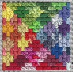 Rainbow Bricks Free Needlepoint Ornament is based on a quilt layout I found on Pinterest, below, from Felt Magnet. I loved the Lego-like feel of the groups of four bricks, but I wasn't crazy about the colors. Adapting to Needlepoint Because the pattern is made of rectangles, Cashmere Stitch makes a great choice for the …