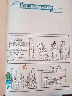 Het begin van mijn eigen books to read boekenkast, met kleine tekeningetjes bijpassend bij de series! (Lunar chronicles, jewel, de selectie)