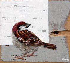 Fonny van Raaijen, Mus 1, Acryl op oud hout, 10x10 cm, €.90,-