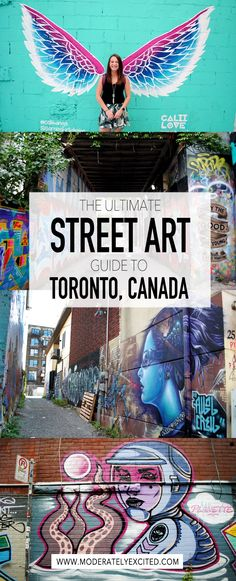 Your ultimate guide to finding street art in Toronto, Canada, along with tons of other places to eat and things to do! The moderately exciting guide to 48 hours in Toronto, Canada. The only city guide you need to spending a weekend in Toronto, Canada! Toronto Canada, Canada Ontario, Banff, Ottawa, Places To Travel, Travel Destinations, Travel Tips, Travel Guides, Travel Plan