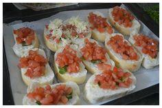 Tomato, Basil and Mozzarella Bruschetta for a lazy Sunday evening.  Get the recipe here https://kitchenpostcards.wordpress.com/2013/12/12/tomato-and-mozzarella-bruschetta/