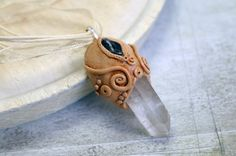 Clear Quartz, Amethyst necklace goddess jewelry Handcrafted Clay and Gemstone Necklace healing crystal by Velwoo on Etsy