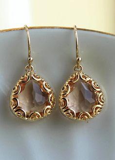 Gold Champagne Blush Earrings