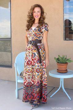 eShakti Maxi Dress. Very dynamic. She's even got the chunky belt