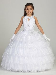 This white formal neckline dress is perfect for pageant, communion or any formal event. This girls white dress has a lovely Grecian neckline and a bodice full of sparkling details. It is a stunning white floor length dress with lovely layers. Girls White Dress, Girls Party Dress, Little Girl Dresses, Baby Dress, Girls Dresses, Holy Communion Dresses, Moda Formal, Kids Gown, Wedding Flower Girl Dresses