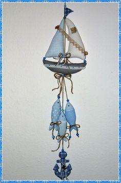 Maritime Girlande* Segelboot* Fische* Anker*Tilda Art* Handarbeit* Baddeko