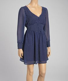 Take a look at this Navy & White Pin Dot V-Neck Dress by Reborn Collection on #zulily today!