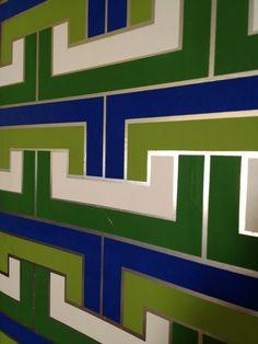 Mod geometric vintage wall art Hollywood Regency panel