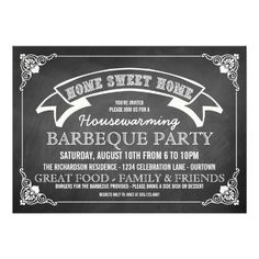 Chalkboard Housewarming BBQ Party Invitation