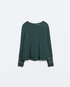 ZARA - WOMAN - TOP WITH EMBROIDERED CUFF