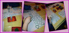 """Stempedruck mit Klopapierrollen.  Drucken mit Klopapierrollen zum Thema Farben, Formen, Zählen (anschaulich: aus """"rund"""" wird """"oval""""... ein Oval ist ein gedrückter Kreis)"""