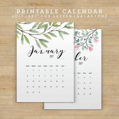 Printable Calendar 2017 Floral Calendar by FearlessConfetti