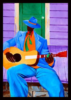 """Robert Johnson"" ~ Ivey Hayes Art work Reminds me of a new orleans environment African American Artist, African Art, American Artists, Caribbean Art, Jazz Art, Guitar Art, Robert Johnson, Blue Art, New Art"