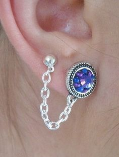 ONE Double Piercing Earring Two Hole Ear Chain Purple Amethyst Opal Stud Single Earring