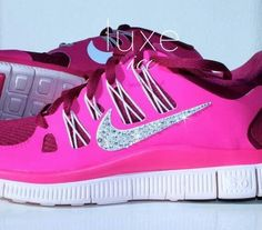 Crystal Pink Nikes. ♥     Want these #nike #shoes! Maybe they will motivate me to work out more! :)