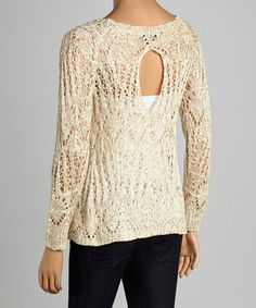 Loving this Beige Sparkle Loose-Knit Keyhole Sweater on #zulily! #zulilyfinds