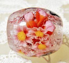 https://www.etsy.com/shop/AyakoGlassGarden new item for etsy Cherry Blossom & Bud with Butterfly Kinari Glass Lampwork Round Flower Bead