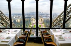 The view from Le Jules Verne in the Eiffel Tower in Paris.