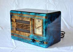 1938 Packard Bell Blue Kompak Art Deco Bakelite Radoo