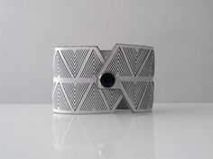 Chevron pattern inspired by local Navajo weaving patterns. Laser Cut Leather, Leather Cuffs, White Leather, Navajo Weaving, Lazer Cut, Weaving Patterns, Clean Lines, Design Trends, Bling