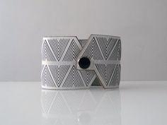 black + white navajo chevron leather cuff