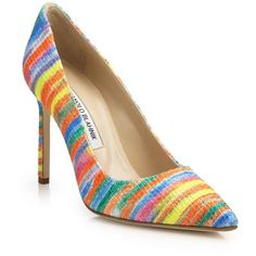 Manolo Blahnik Stripe Point-Toe Pumps (51.440 RUB) ❤ liked on Polyvore featuring shoes, pumps, apparel & accessories, rainbow, multi-color pumps, multi colored pumps, pointy toe shoes, colorful pumps and rainbow shoes