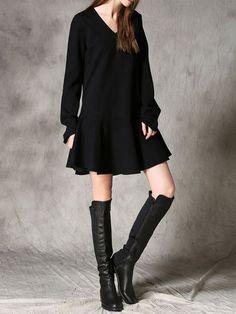 Long Sleeve Pockets Casual Flounce Mini Dress